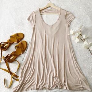 Light Pink open Back T-Shirt Dress